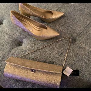 Shoes - Gold sparkle heels & purse bundle NWT